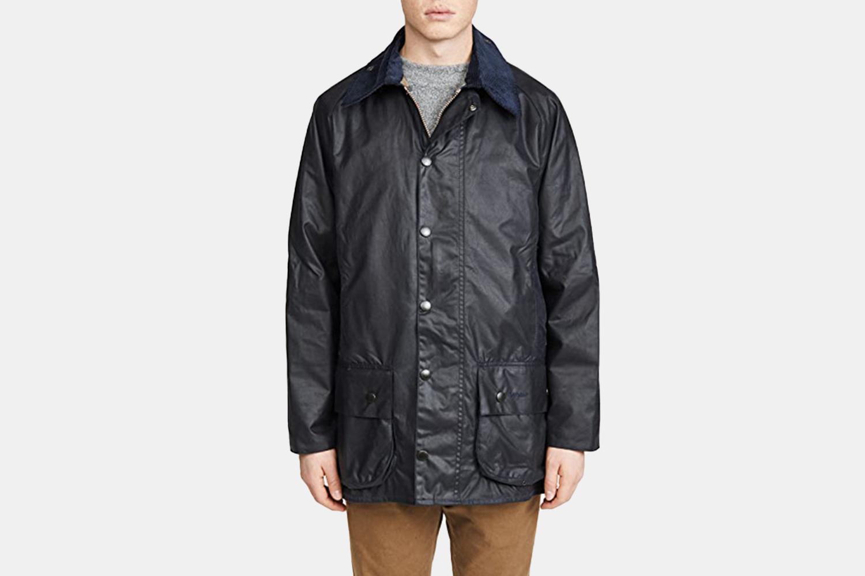 a navy waxed jacket