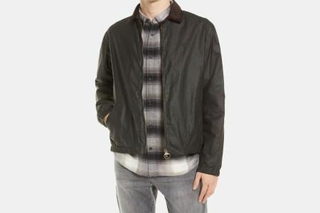 a dark waxed jacket
