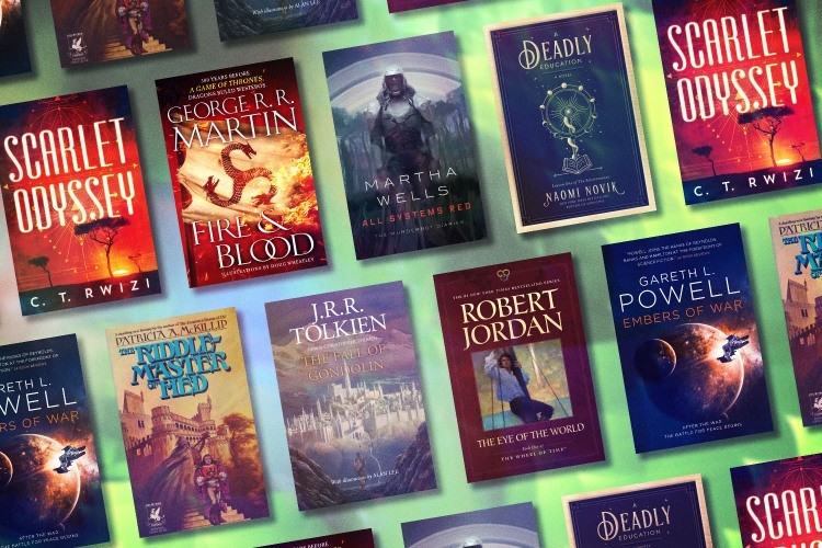 """A grid of the best science-fiction and fantasy books for adults, from Robert Jordan's """"The Wheel of Time"""" series to J.R.R. Tolkien's """"The Fall of Gondolin"""" to Naomi Novik's """"A Deadly Education,"""" on a green background"""