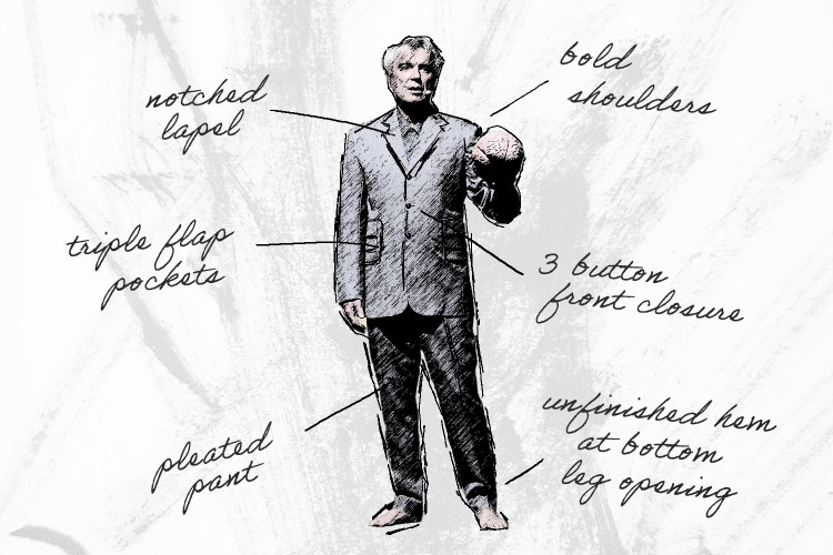 David Byrne wears a big suit.