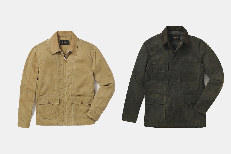 a pair of Buck Mason jackets