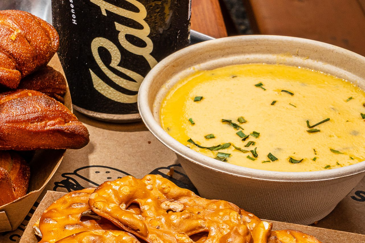 Pretzels with warm beer cheese
