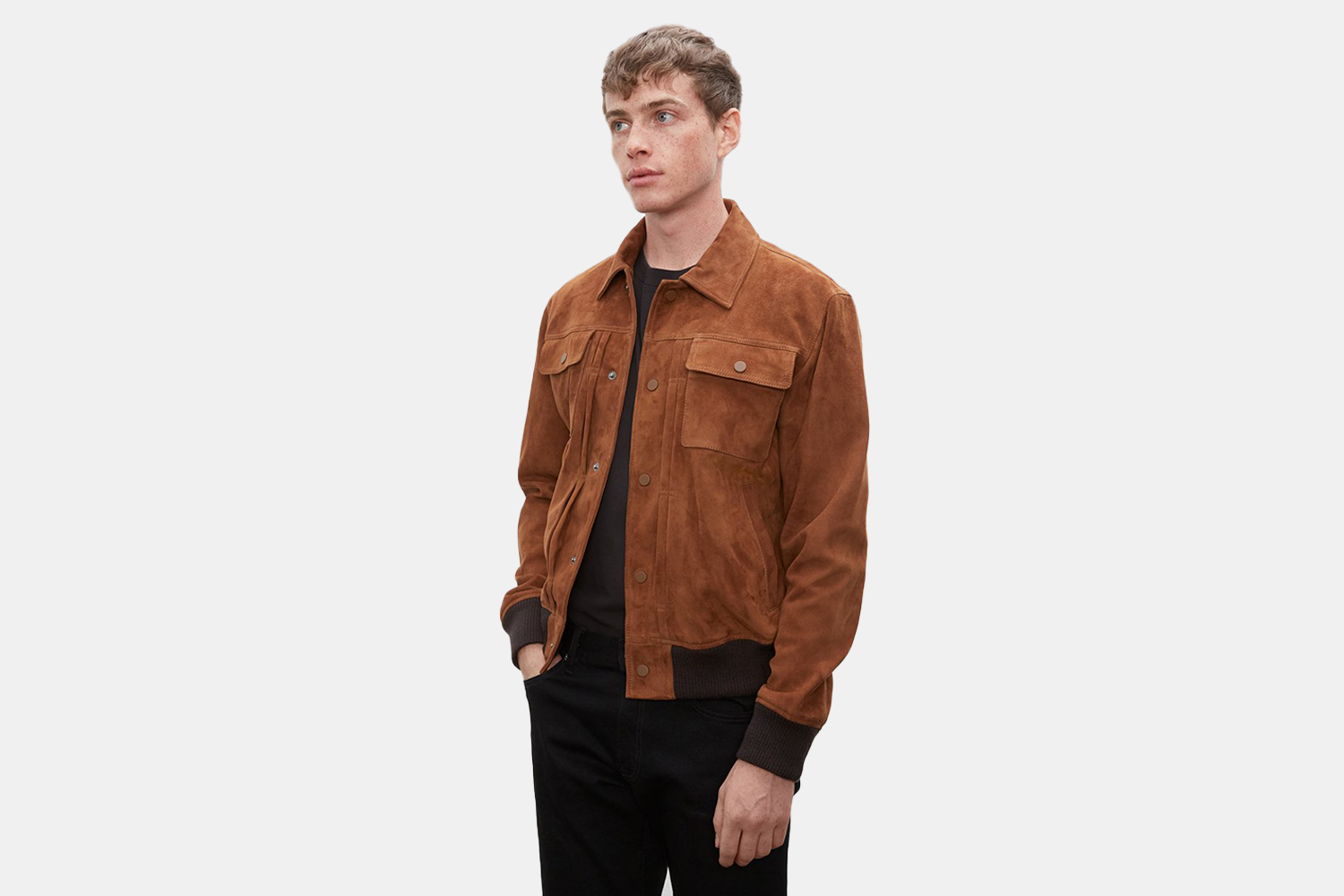 a model in a suede jacket.