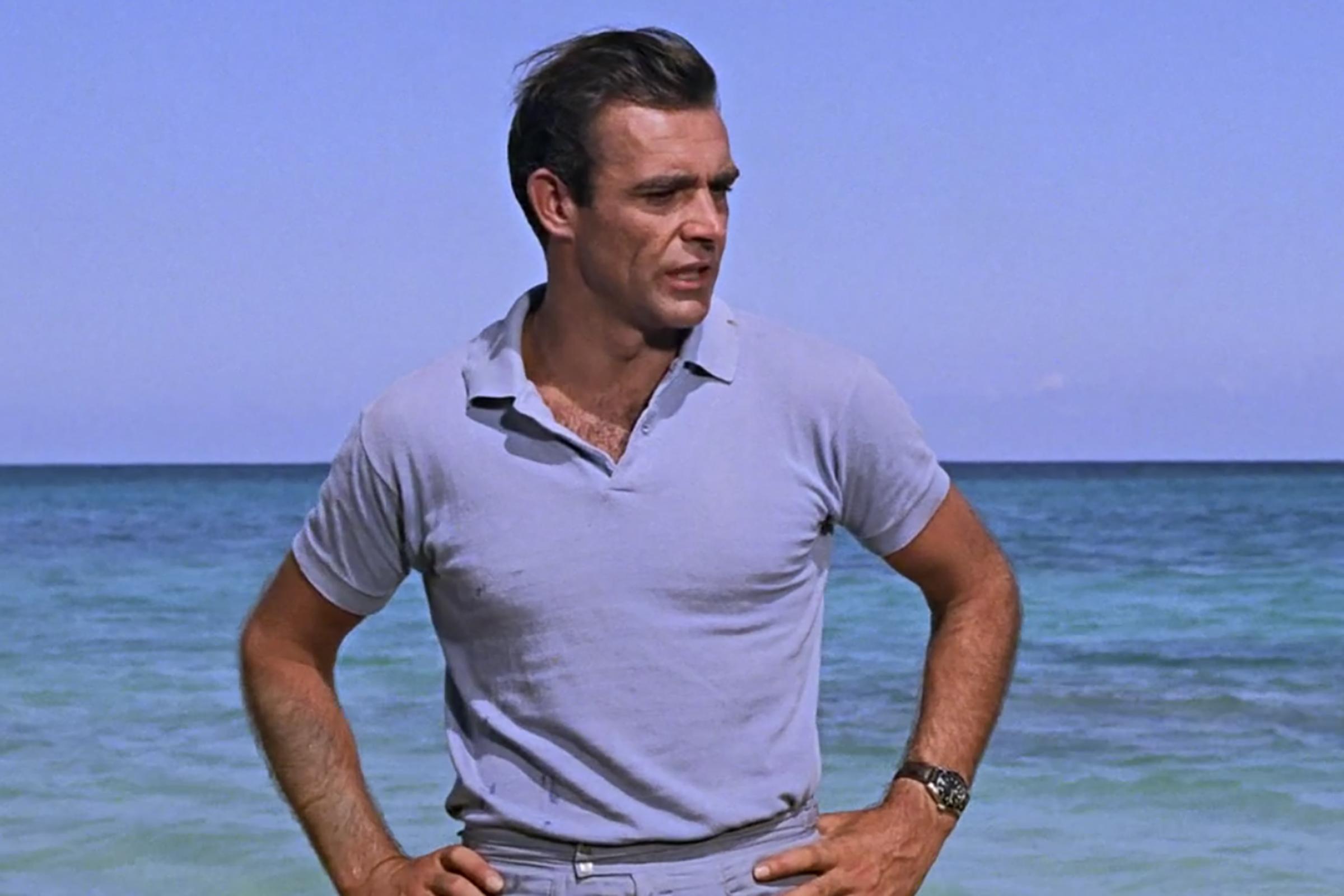 Sean Connery wears this powder blue beach ensemble in the very first James Bond film, Dr. No.