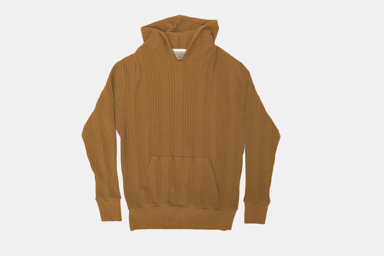 a knit tan hoodie