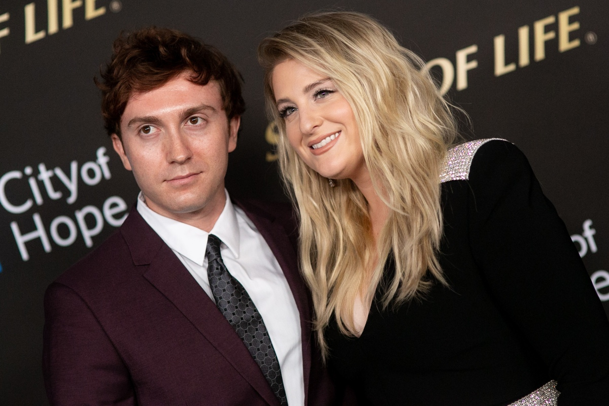Daryl Sabara and Meghan Trainor arrive for City Of Hope's Spirit Of Life 2019 Gala at The Barker Hanger on October 10, 2019 in Santa Monica, California.