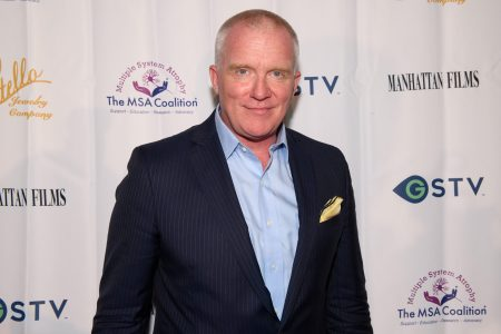 """Anthony Michael Hall attends a benefit, A Night with Anthony Michael Hall, to raise awareness of Multiple System Atrophy (MSA) at Tivoli Theatre on July 26, 2021 in Downers Grove, Illinois. The veteran actor now claims the idea of the """"Brat Pack"""" was a media ploy."""