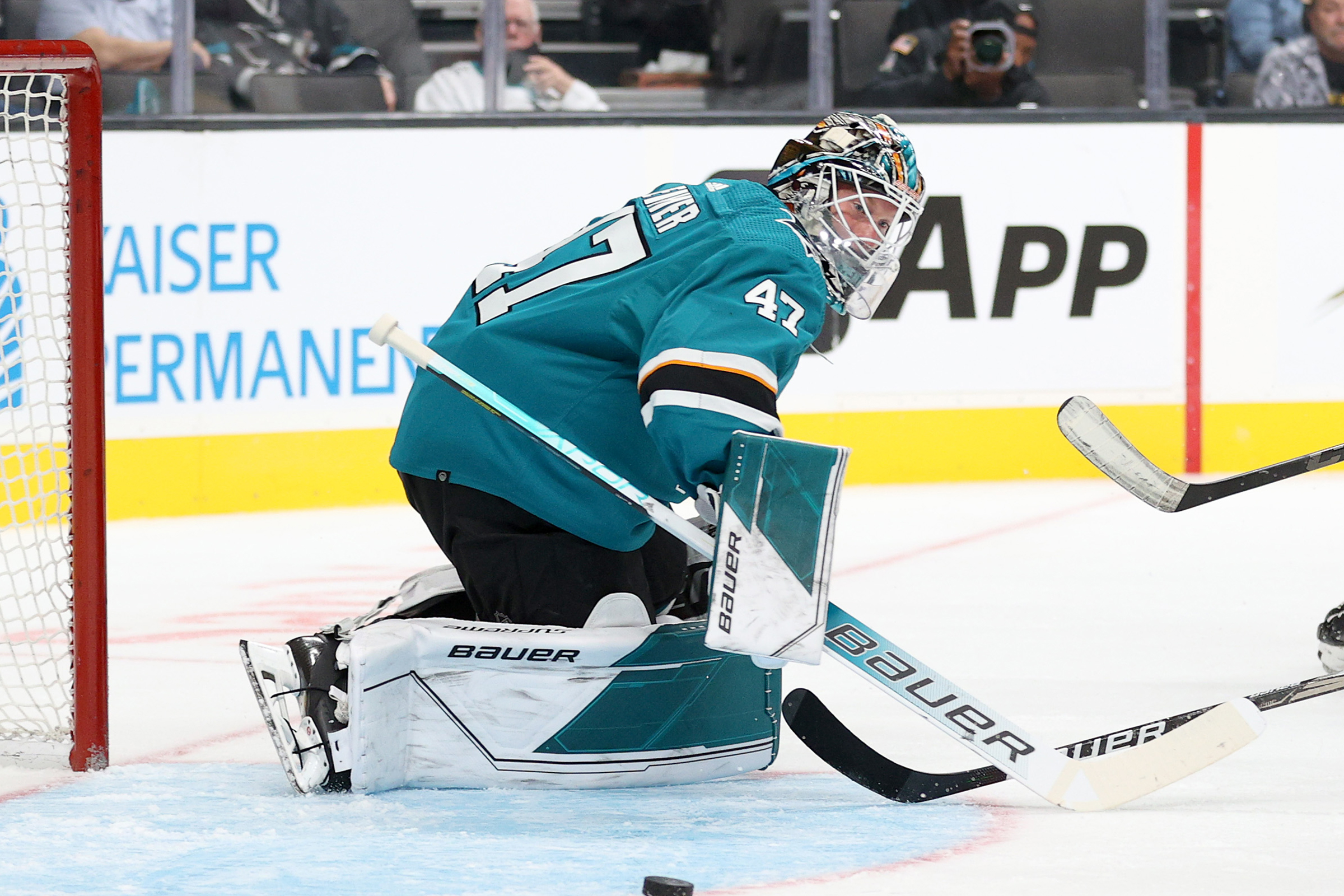 James Reimer #47 of the San Jose Sharks makes a save against the Anaheim Ducks at SAP Center on October 04, 2021 in San Jose, California.