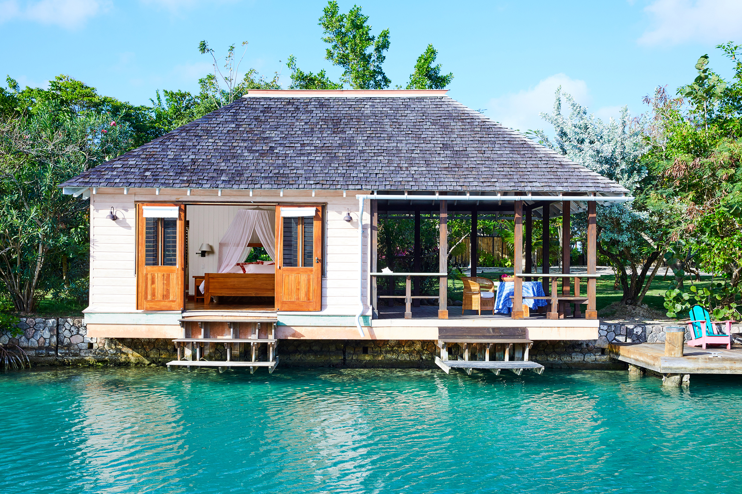 The lagoon cottage that sits on the water at the Goldeneye Resort.