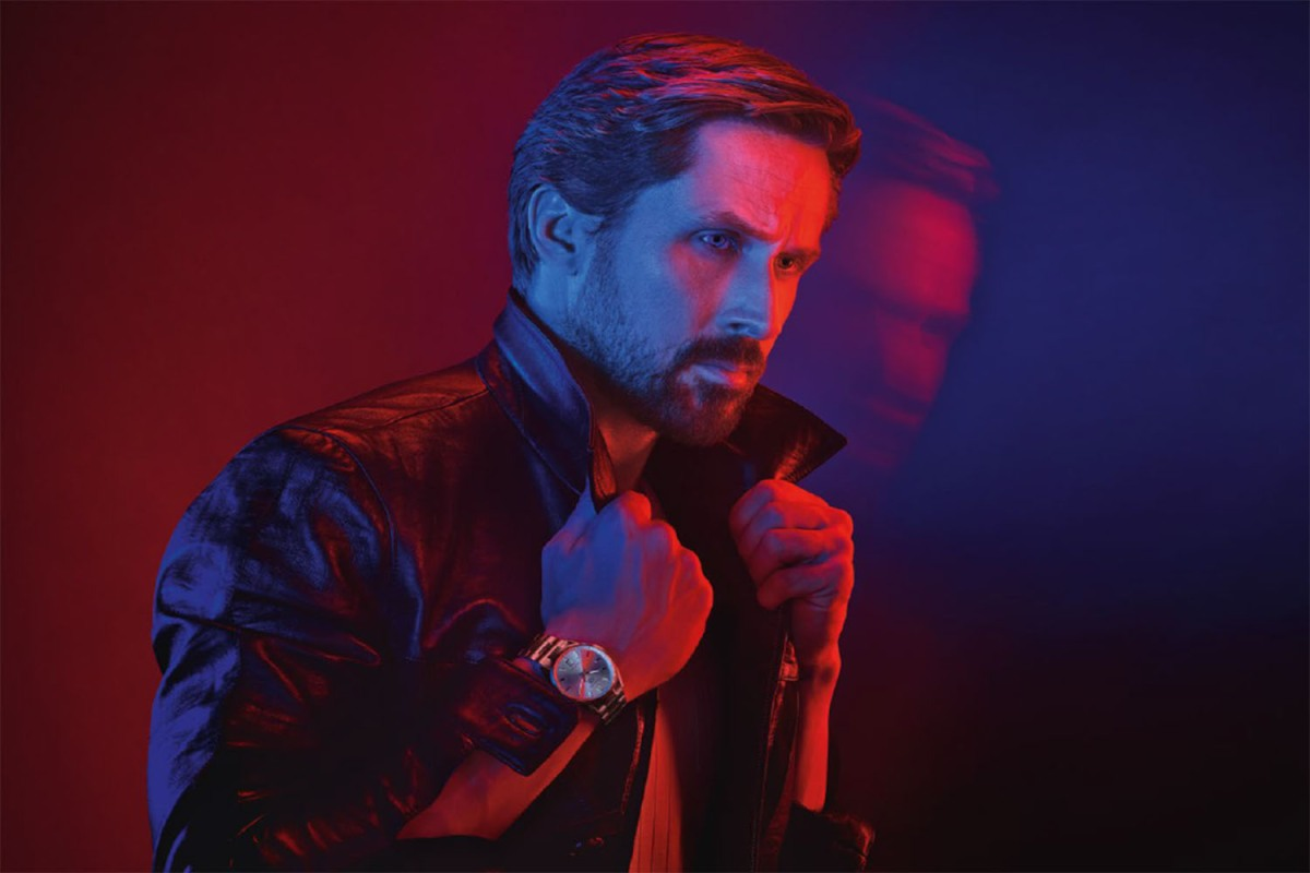 Ryan gosling in a trench and watch, edited.