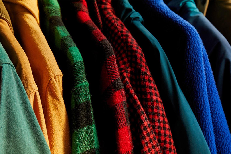 A rack of vintage L.L. Bean tops