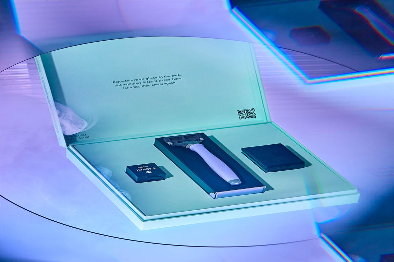 a purple image of a scary razor