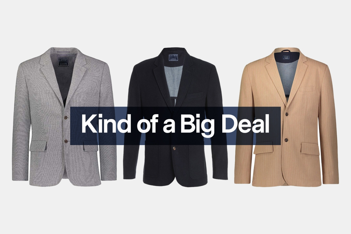 """Three different men's blazers from JACHS NY, a grey, black and camel one from left to right, with the words """"Kind of a Big Deal"""" over the top"""