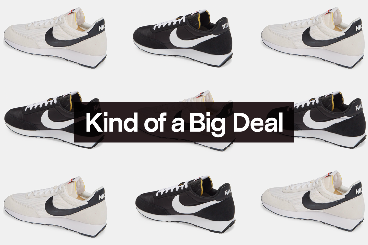 """A grid of Nike Air Tailwind 79 sneakers in two colors, both of which are on sale at Nordstrom, with the words """"Kind of a Big Deal"""" over the top"""