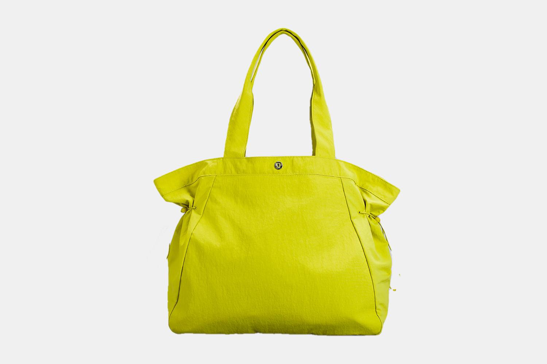 a bright yellow tote bag