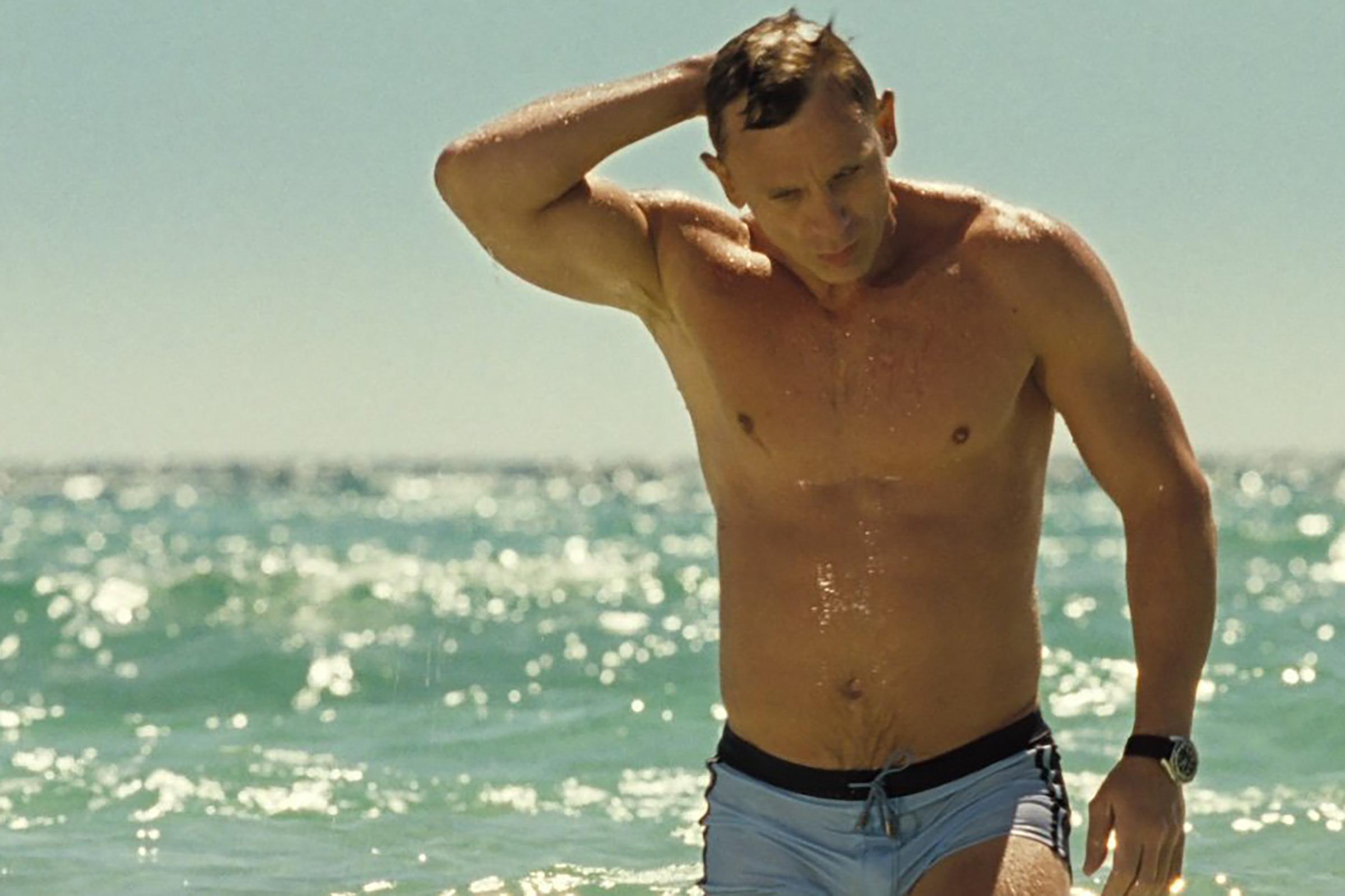 Daniel Craig wears a powder blue short-short bathing suit in Casino Royale.