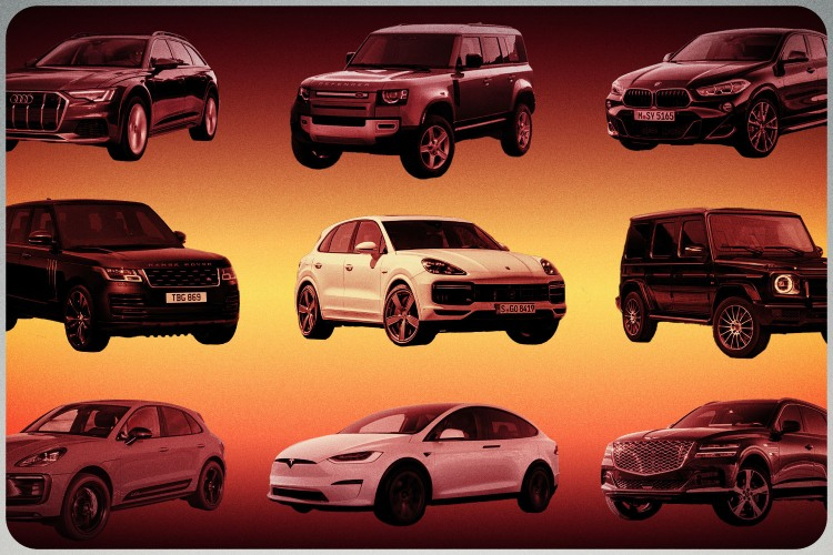A grid of the best luxury SUVs of 2022, including the Land Rover Defender, Range Rover, Porsche Cayenne Hybrid, Mercedes-Benz G-Class, electric Tesla Model X and others