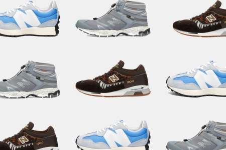 a collage of new balance sneakers
