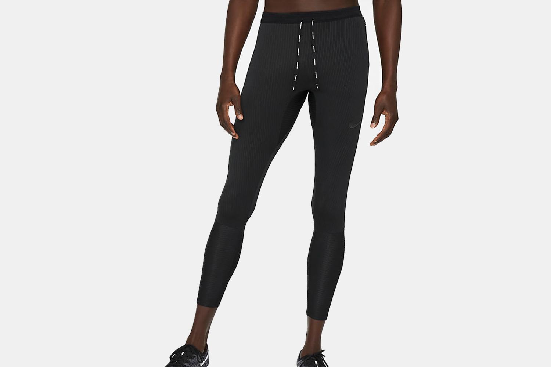 black nike tights on a model