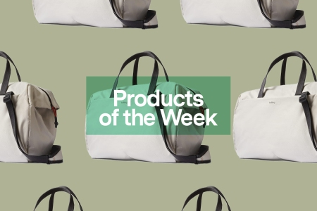"""A collage of bags from Bellroy's new Lite collection, on a green background, with overlaid text that reads """"Products of the Week"""""""