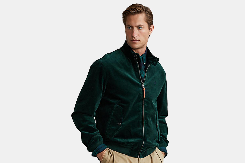 a green corduroy jacket