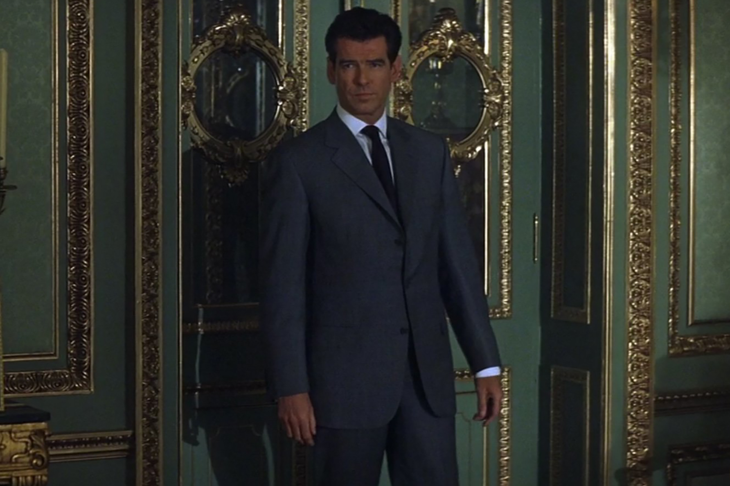 Pierce Brosnan wears a beautifully tailored suits from the Brioni house in The World is Not Enough.