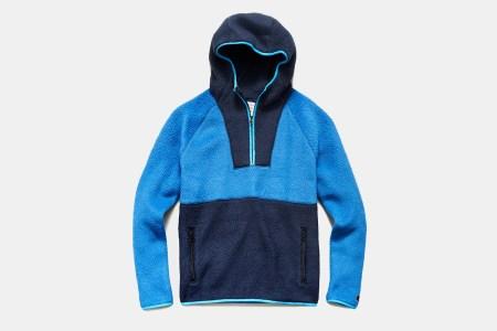 a blue and light blue fleece hoodie