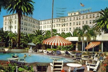 An old postcard from Hotel Miramar in Santa Monica, California.