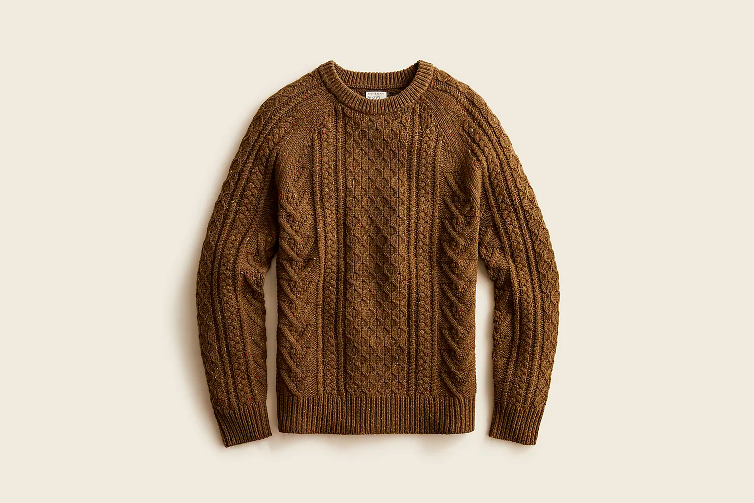 Robust merino wool cable-knit sweater in donegal