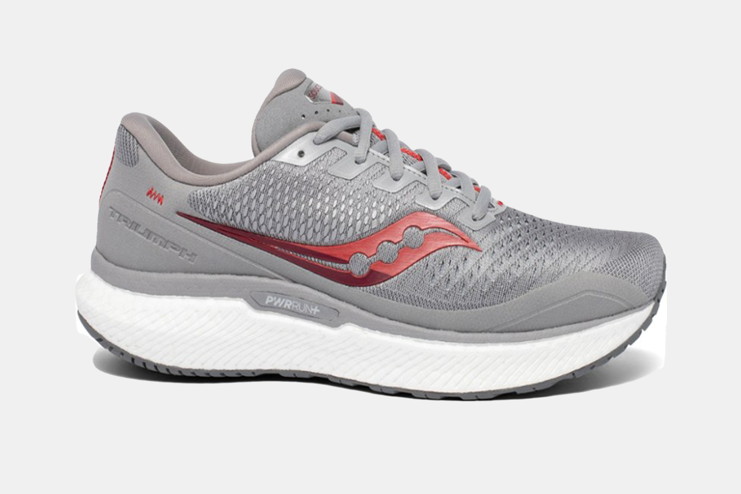 a pair of grey running shoes