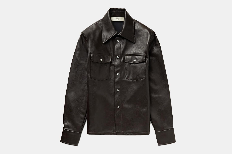 a leather shirt jacket