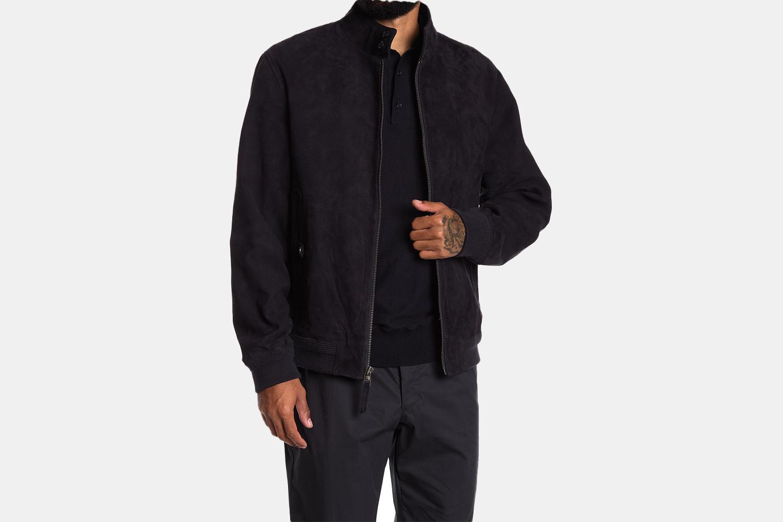 a dark suede jacket