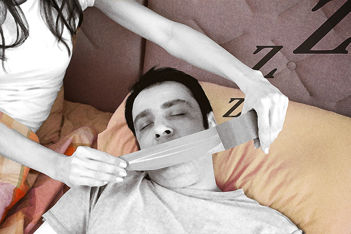 Image shows a sleeping man having duct tape applied across his mouth by a partner