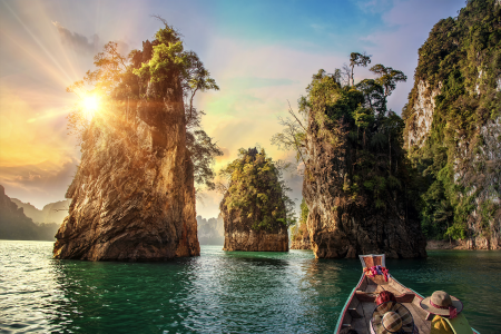 Three rocks in Cheow Lan Lake, Khao Sok National Park at Suratthani, Thailand