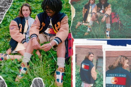 a collage of the new Timberland x Tommy Hilfiger collecition