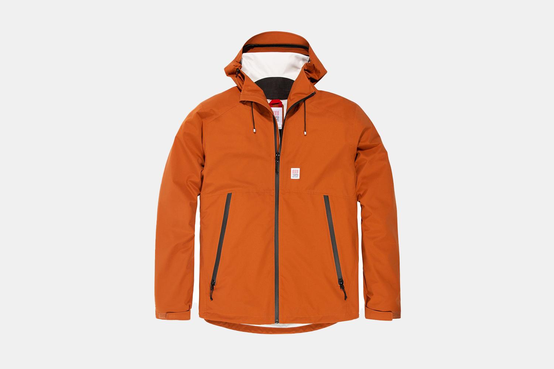 an orange rainjacket