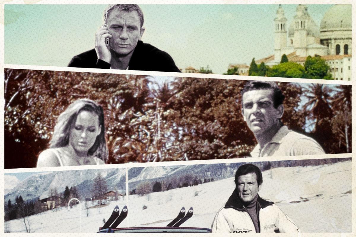 James Bond in three locations.