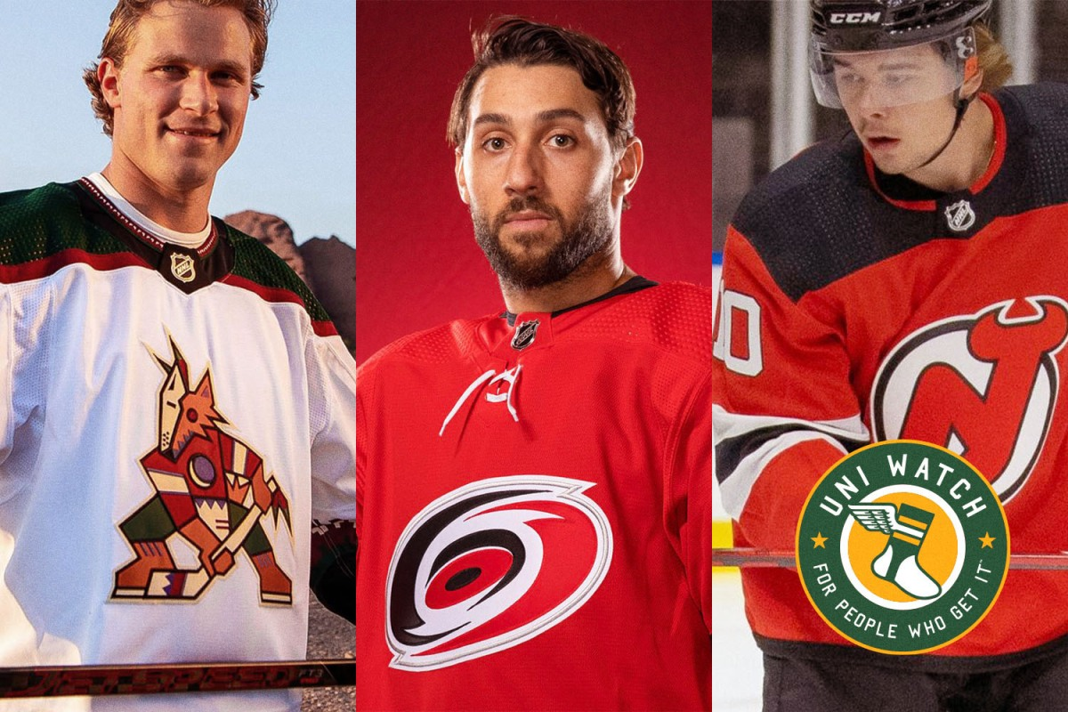 The 2021-2022 NHL jerseys for the Arizona Coyotes, Carolina Hurricanes and New Jersey Devils, with details discussed by Paul Lukas of Uni Watch