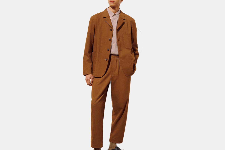 a tan suit