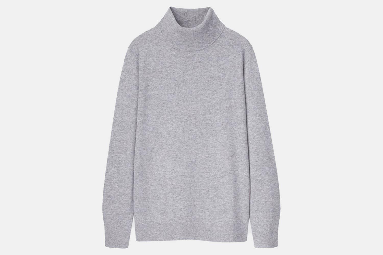 a Uniqlo grey turtleneck