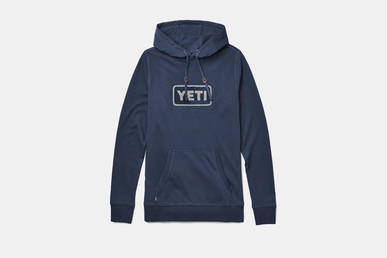 a blue hoodie
