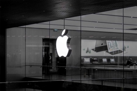 A black and white photo of an Apple store.