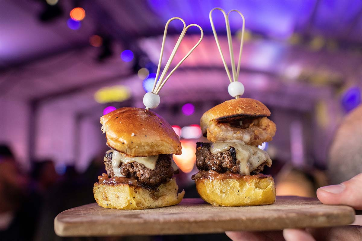 Two burgers from NYCWFF's Burger Bash, possibly the most popular event