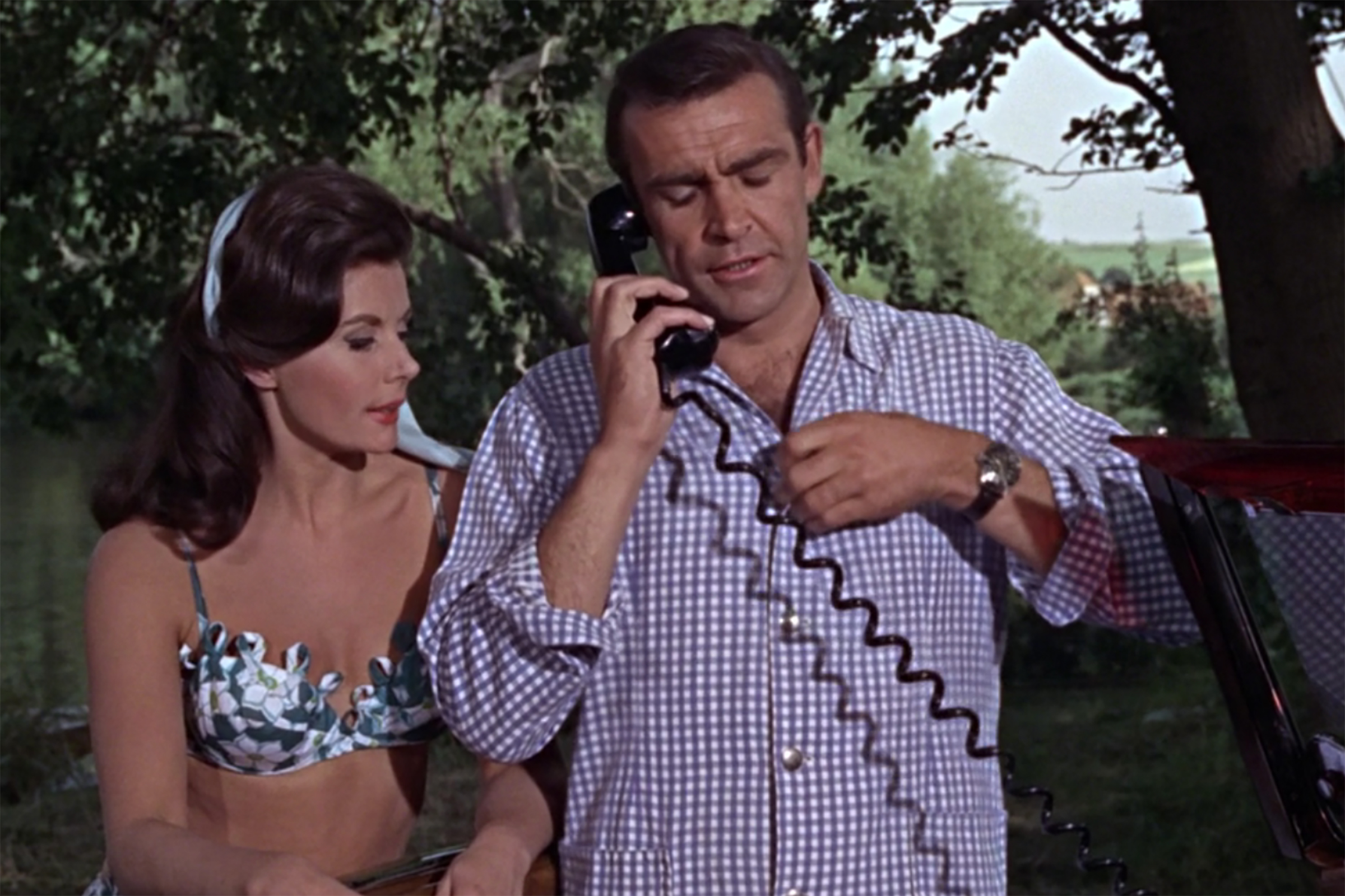 In From Russia with Love, Connery dons a purple gingham shirt.