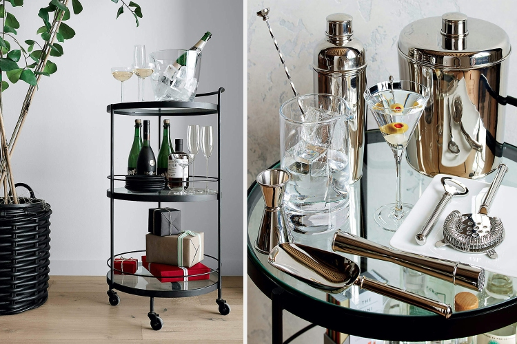A full-length and close-up photo of the Noir Round Bar Cart from Crate and Barrel, a three-tiered bar cart filled with bottles of booze and cocktail accoutrement