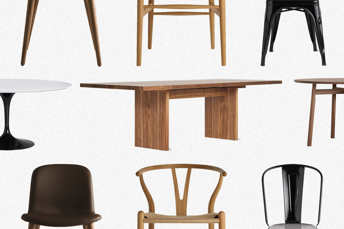 A row of tables and two rows of chairs from Design Within Reach, all discounted during the shop's Dining Sale