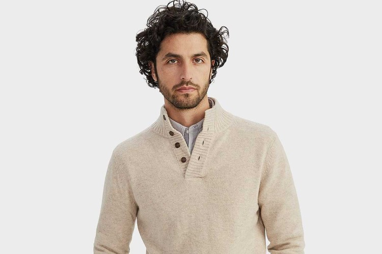 Merino Cashmere Button Pullover Sweater, now on sale at NAADAM
