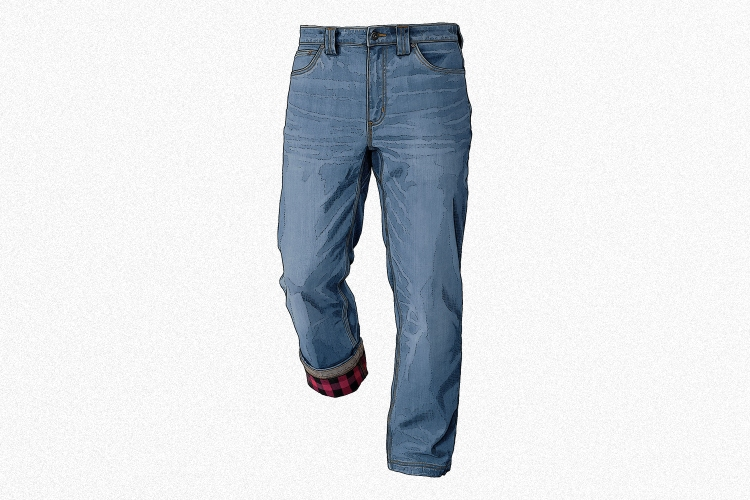 An illustration of Duluth Trading Company's Men's Ballroom Double Flex Standard Fit Flannel Lined Jeans, which is our favorite pair of flannel lined jeans