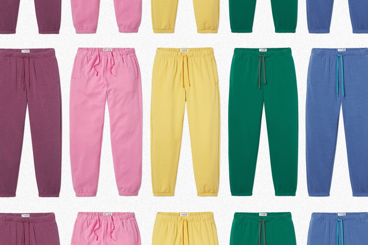 A grid of rainbow sweatpants from the brand Entireworld, which Scott Sternberg announced is closing