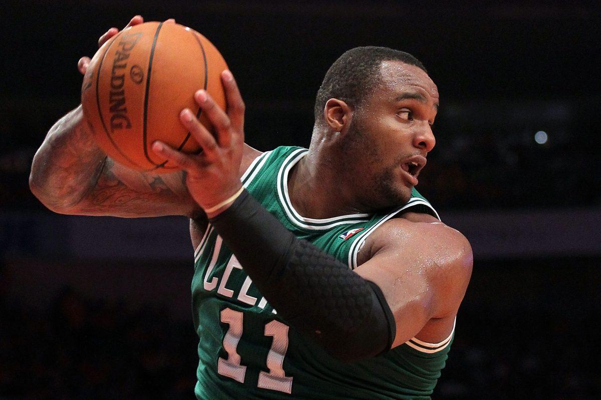 Former Celtic Glen Davis controls a rebound during the 2011 NBA playoffs